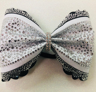 Modern Scalloped Rhinestone Bow