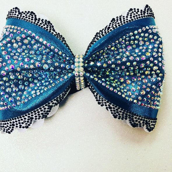 Modern Teal Scalloped Rhinestone Bow