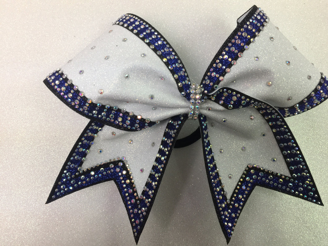 Blue and White Rhinestone Gorgeous Bow