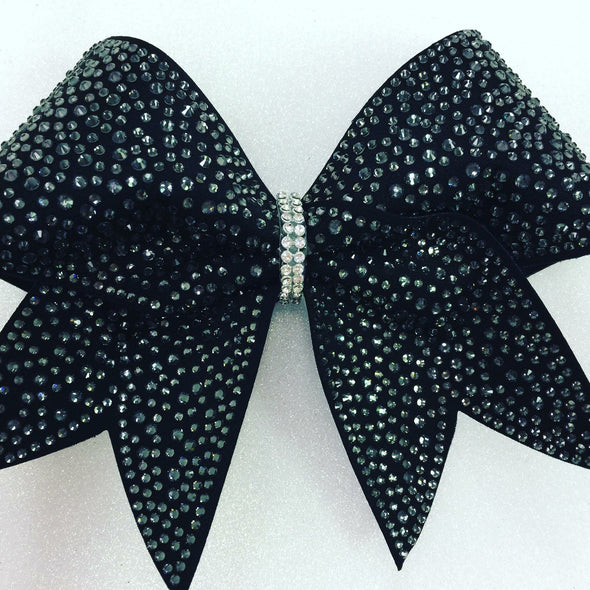 Black on Black Rhinestone Gorgeous Bow