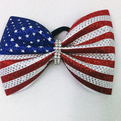 "4"" Tailless American Flag Bow"