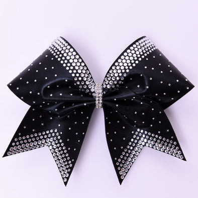 Black Satin Rhinestone Bow