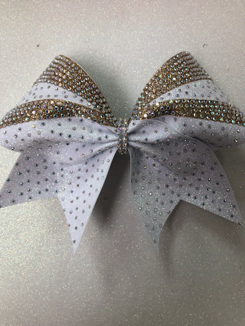 White & Gold Rhinestone Pattern Bow