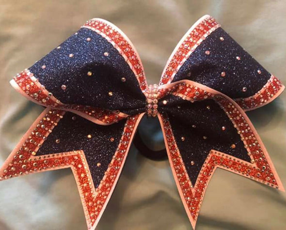 Orange & Navy Blue Outlined Rhinestone Bow