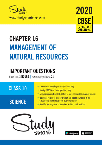 Class 10 Science Chapter 16  Management of Natural Resources Most Important Questions