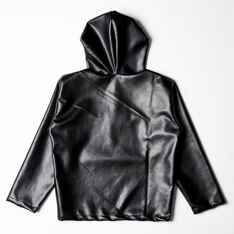 Vegan leather Pullover Hoodie