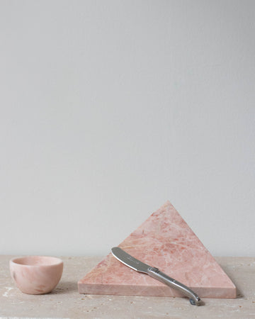 Small Marble Pink Triangle Board with Laguiole Knife - Miss Parfaite | Luxury Stationery