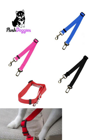 Adjustable In-Car Dog Safety Belt, - PlushDoggies