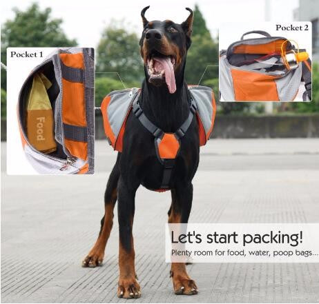Outdoor Backpack Adjustable Saddle Bag Harness Large Dog