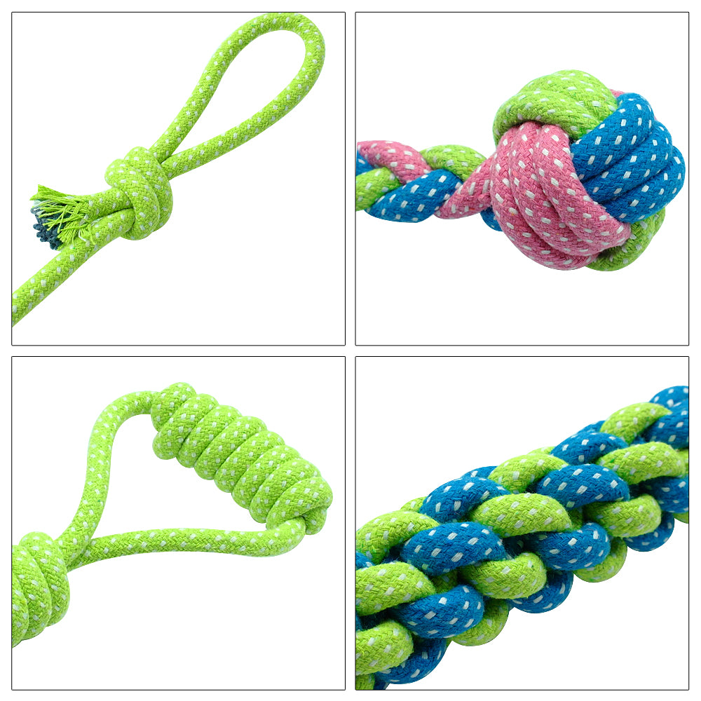 Cotton Dog Rope Toy Set, - PlushDoggies