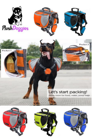 Outdoor Backpack Adjustable Saddle Bag Harness Large Dog, - PlushDoggies
