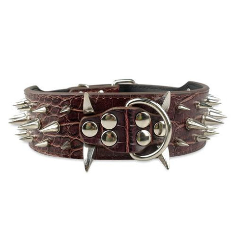 Medium To Large Dog Spiked Leather Collar, - PlushDoggies