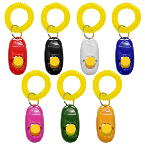 Dog Clicker Training Trainer With Key Ring And Wrist Strap In 7 Colors, - PlushDoggies
