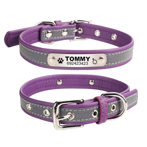 Personalised Dog Collar With Customised Engraved Nameplate Reflective Leather Plain, - PlushDoggies