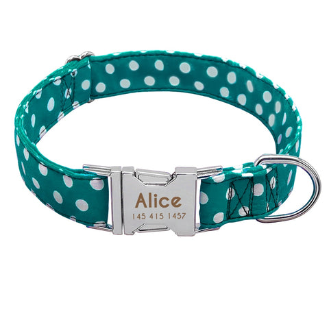 Personalised Dog Collar With Customised Engraved Nameplate Polka Dot Design, - PlushDoggies