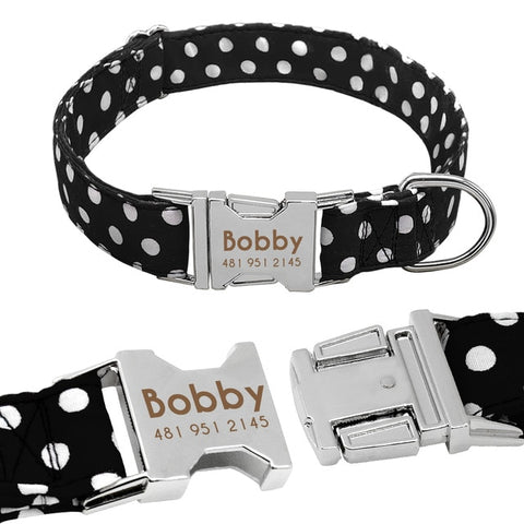 Personalised Dog Collar With Customised Engraved Nameplate Polka Dot Design