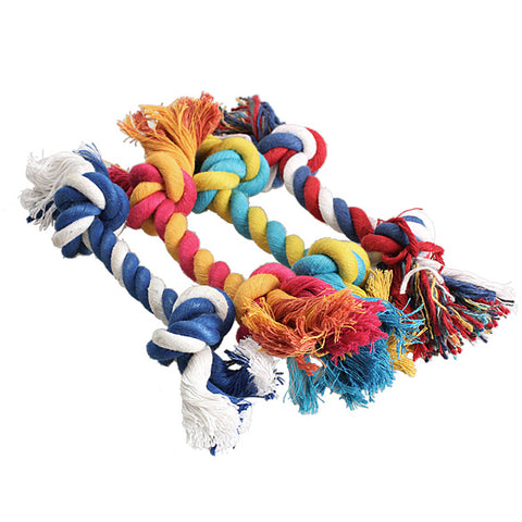 Image of Pet Dog Puppy Cotton Chew Knot Toy Durable Braided Bone Rope 15CM Funny Tool (Random Color ), - PlushDoggies