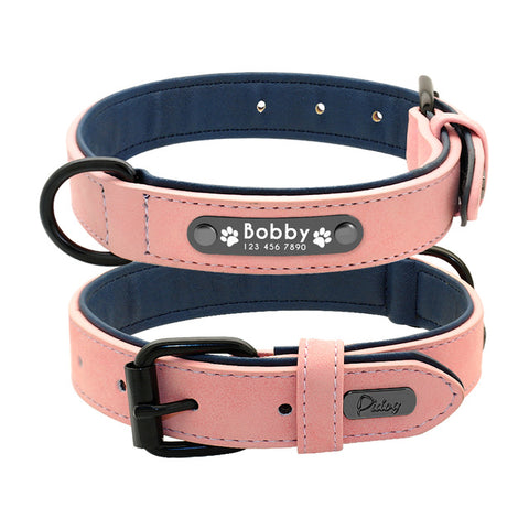 Personalised Dog Collar With Customised Engraved Nameplate And Lead Rope Set, - PlushDoggies