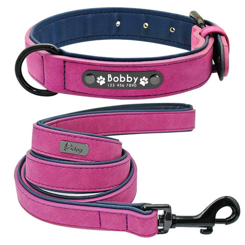 Personalised Dog Collar With Customised Engraved Nameplate And Lead Rope Set