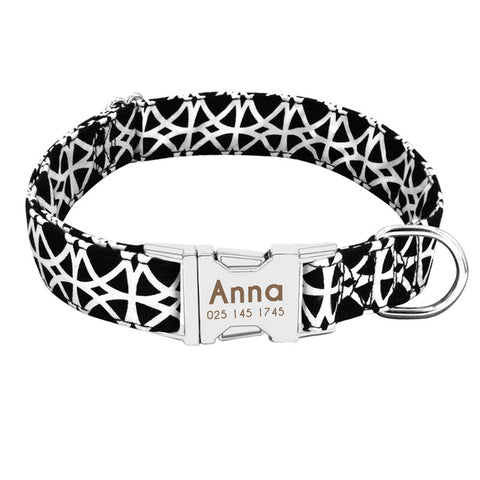 Personalised Dog Collar With Customised Engraved Nameplate Shock Design, - PlushDoggies