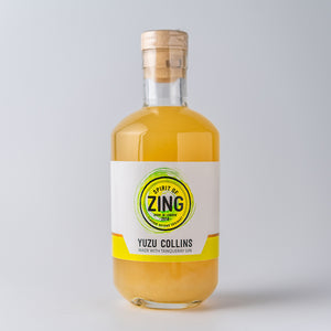 Yuzu Collins bottled cocktail with Tanqueray Gin
