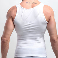 Back of a White Men's Keto Muscle Sculpting Shirt