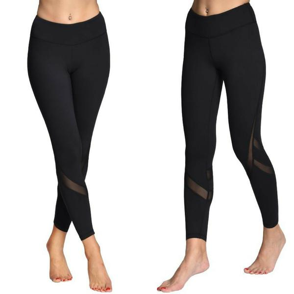 Black Fitness Mesh Yoga Pants and Leggings