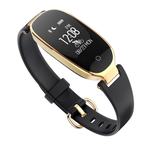 Waterproof Fitness Tracker w/ Heart Rate Monitor Smartwatch in Gold Black