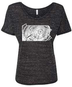 Ladies slouchy PA wood grain tee