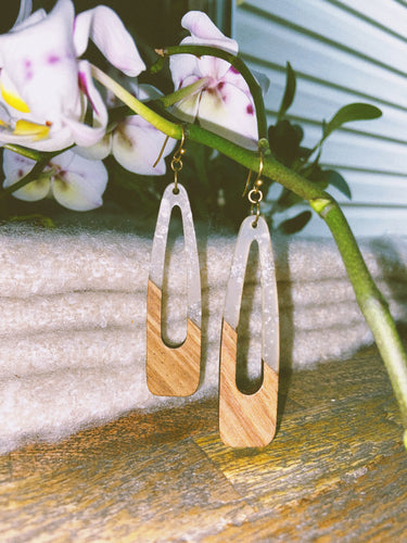 Silver-Speckled Resin and Wood Earrings