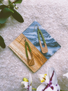 Olive-Sloped Resin and Wood Earrings