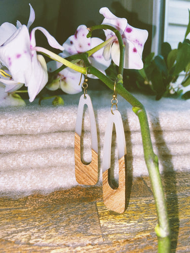 Cloudy Resin and Wood Earrings