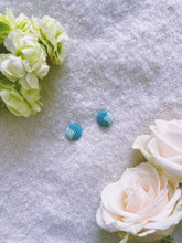 Turquoise And Blue Button Post Beaded Earring