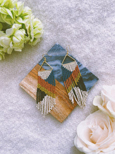 Peacock Rust Citron Fringe Earring