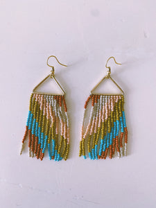 Rust Turquoise Pink Diagonal Stripe On Triangle Earring