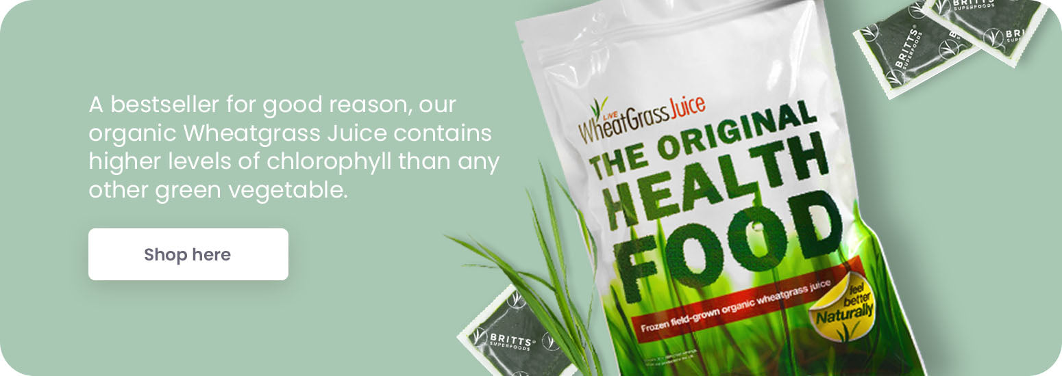 Britt's superfoods Wheatgrass Juice banner