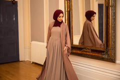 Aaliya Collections Nude Amara Maxi Dress Paired with Mauve open abaya