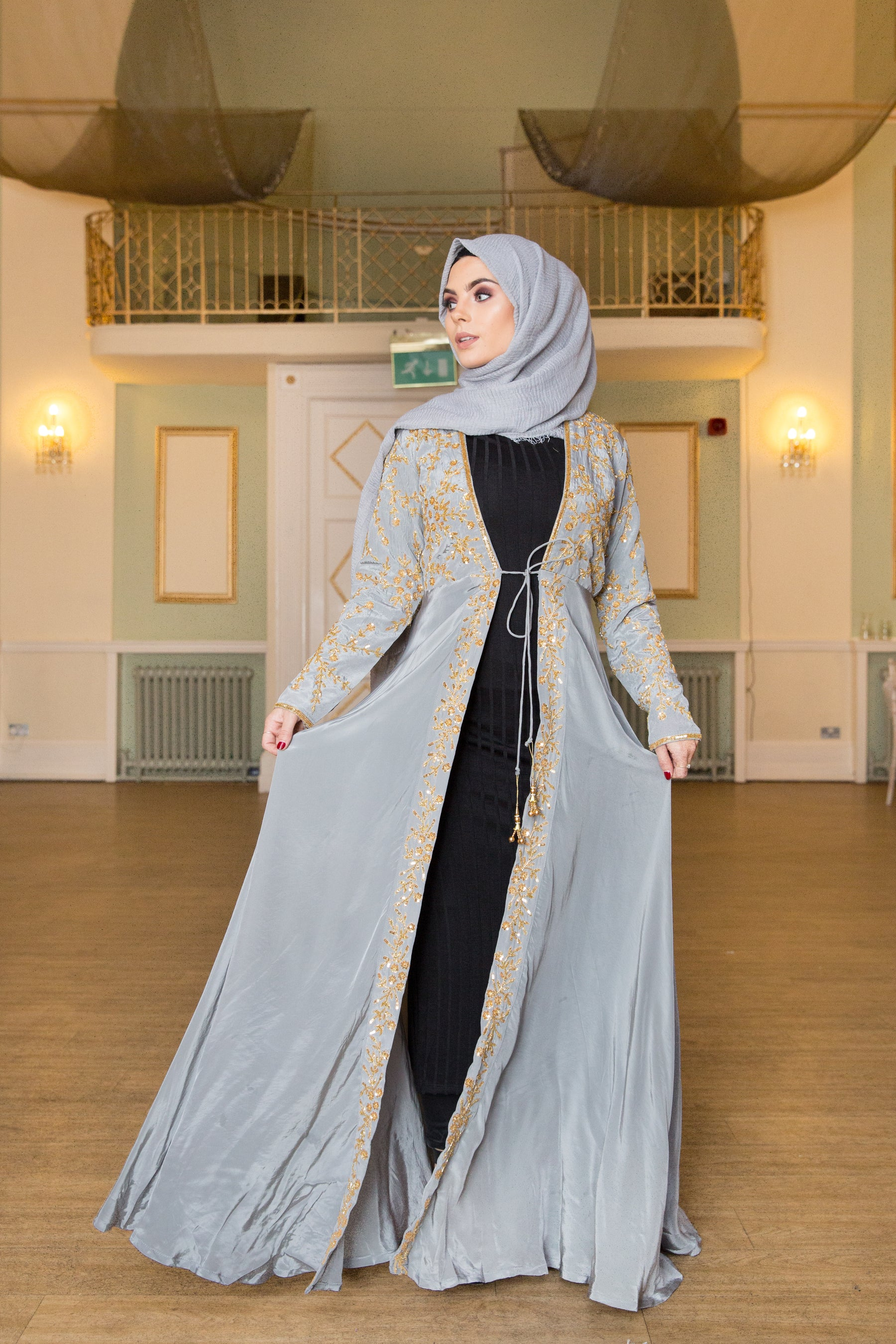Aaliya Collections grey sequin Abaya jacket