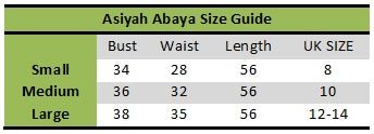 Aaliya Collection Asiyah abaya size guide
