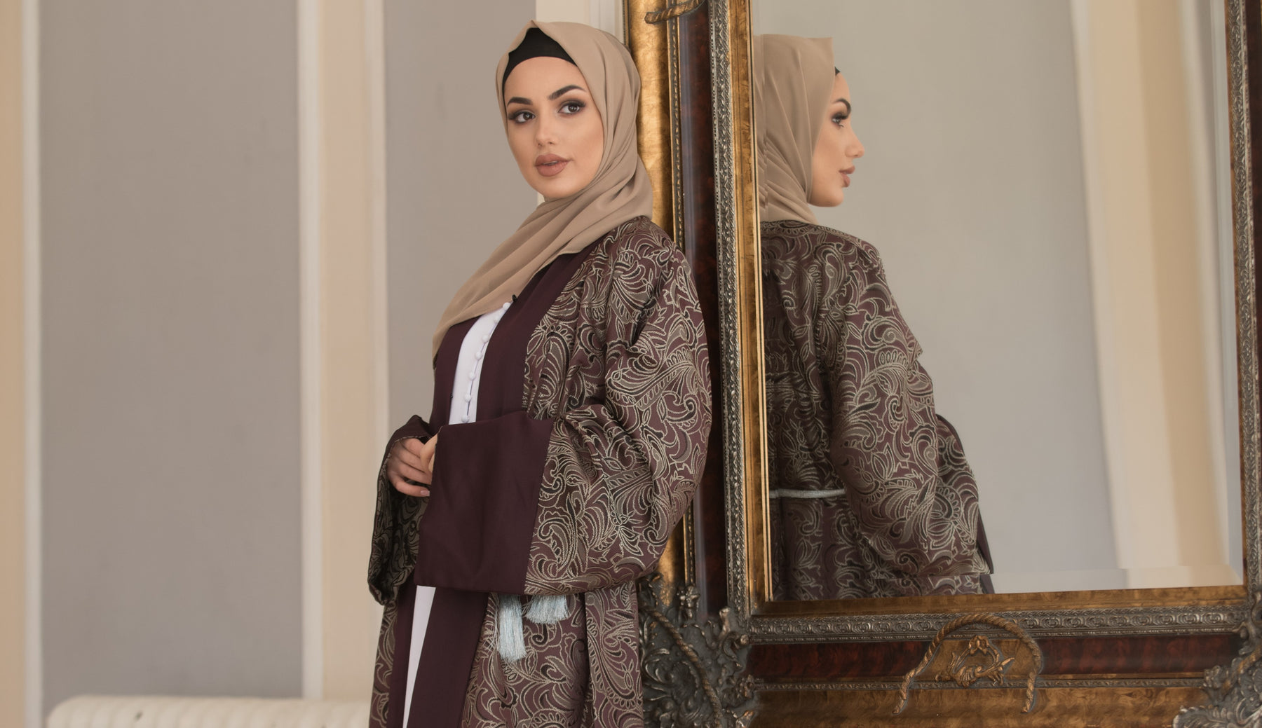 Aaliya Collections Maha abaya with luxury heavy design in purple