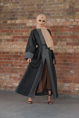 Aaliya Collections Charcoal Linen Abaya
