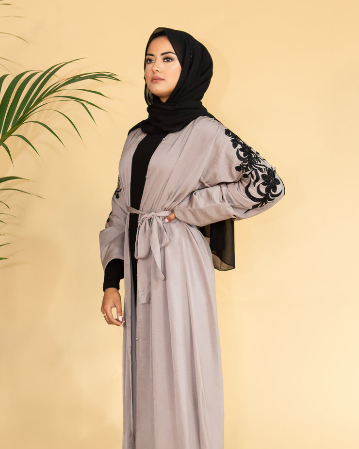 Aaliya Collections Grey Noir Abaya