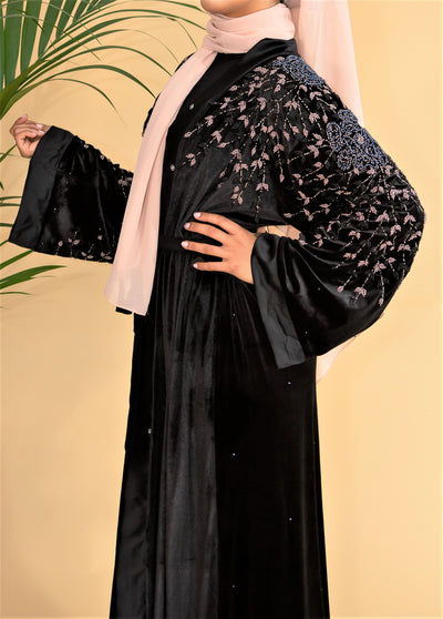 Aaliya Collections Velvet Pink Embellished Abaya