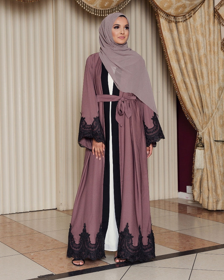 Mauve Amal Abaya - Ready To Dispatch