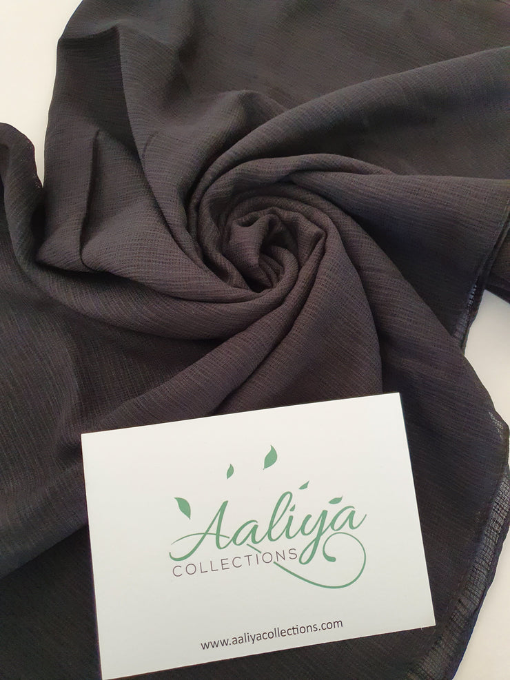 Polyester Ribbed Hijab - Black