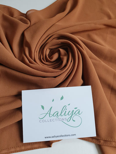 Aaliya Collections Chiffon Hijab - Tawny Brown