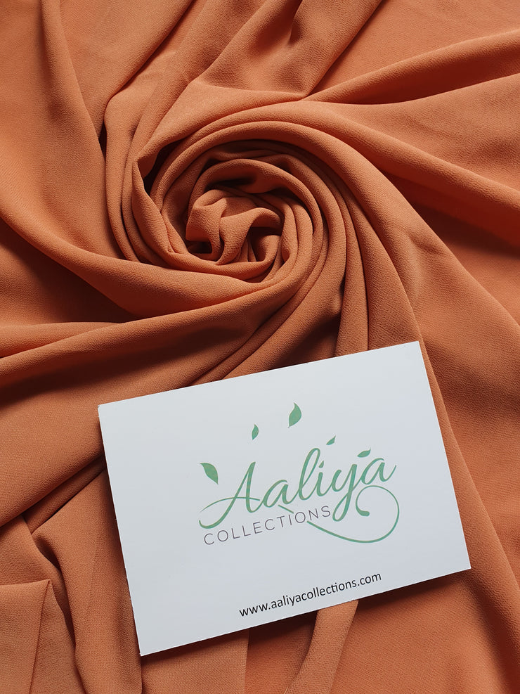 Aaliya Collections Chiffon Hijab - Rust Orange