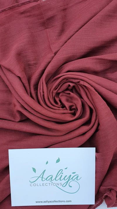 Aaliya Collections Cotton Linen Hijab - Terracotta