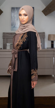 Aaliya Collections Two Piece Leaf Embroidered Abaya