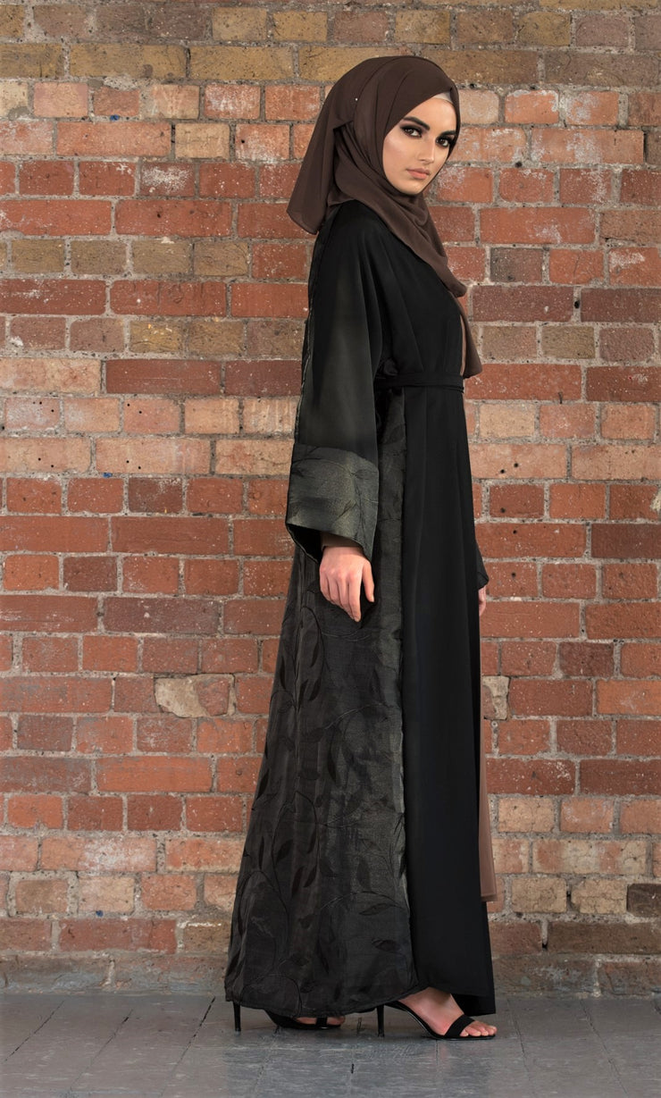 Aaliya Collections Rafiah Abaya A classic black abaya with a contrasting leaf print at the back
